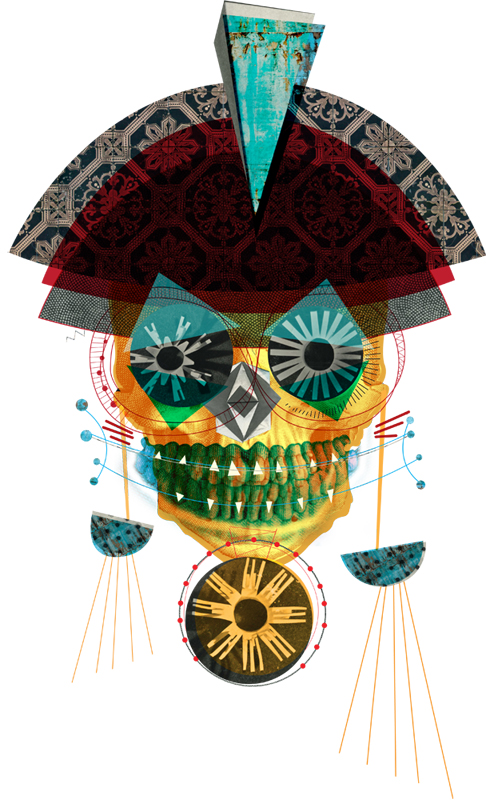 victoria topping ilustraçoes e colagens inspiradas em música, dj art work,imagens de caveiras,caveiras,imagem de caveira,skull images,colagem de caveiras, skull collage, skull illustration, voodoo art work, design gráfico inspirado em música, desenhos de caveiras, montagem caveira, tattoo inspiration, art work inspiration, calaveras, digital art work
